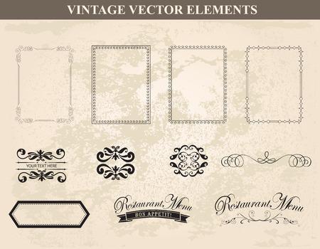 ornaments floral: Decorative vintage frames and borders set Illustration