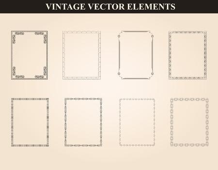 装飾的なビンテージ フレーム、ボーダーは、ベクトルを設定します。様々 なスタイルのビンテージ フレーム デザインを抽象化します。ベクトル ビンテージ飾り 写真素材 - 44238723