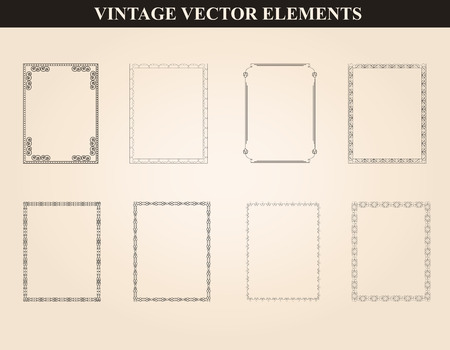 Decorative vintage frames and borders set vector.Abstract vintage frame design in various styles.Vector Vintage Ornament Vettoriali