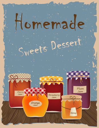 jams: Vintage poster with home-made jams. Sweets Dessert
