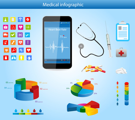 bpm: Set of Medical Infographic elements with icons, different charts, smartphone and Heart Rate Monitor Illustration
