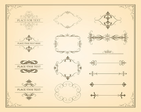 Decorative vintage frames, borders and page decoration elements. Calligraphic design elements. Vector Vintage Ornament Ilustração