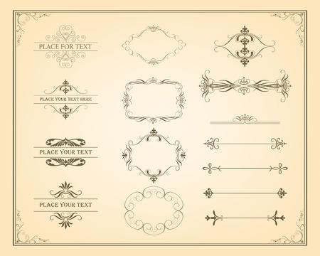 Dekorative Vintage-Rahmen, Ränder und Seitendekorationselemente. Calligraphic Design-Elemente. Vektor Jahrgang Ornament Standard-Bild - 44870169