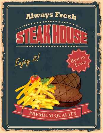 フレンチ フライとおいしい牛肉 steakes ビンテージ ステーキハウス ポスター デザイン