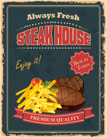 Vintage Steak House poster design with french fry and delicious beef steakes
