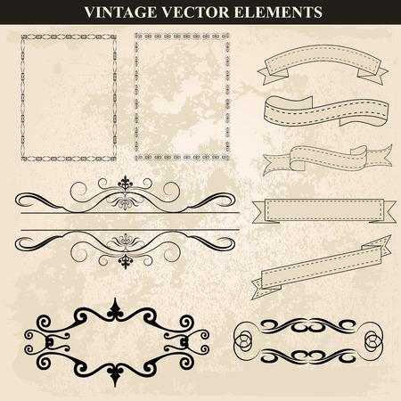 装飾的なビンテージ フレーム リボンとボーダーがベクターを設定します。様々 なスタイルのビンテージ フレーム デザインを抽象化します。ベクト