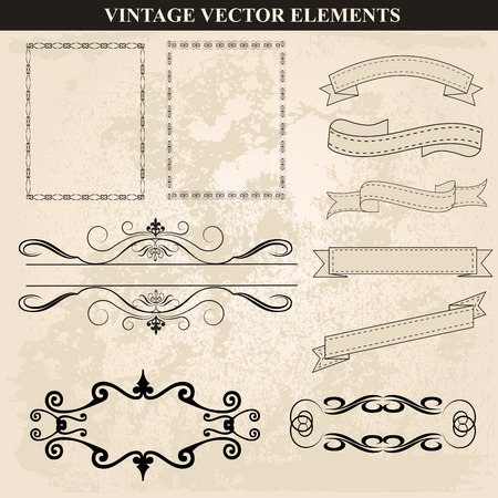 Decorative vintage frames ribbons and borders set vector. Abstract vintage frame design in various styles. Vector Vintage Ornament