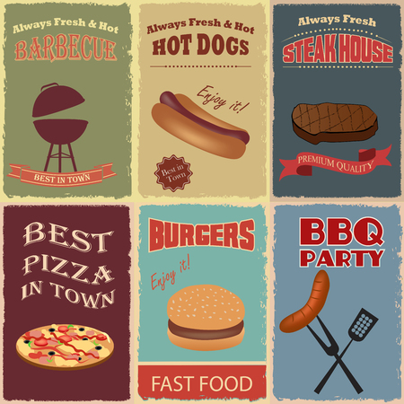 vintage poster: Vintage Food Poster Set. Advertise with Hot dogs, Pizza, Burgers, Barbecue, Steak