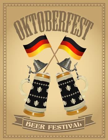 beer stein: Oktoberfest poster with two German beer stein