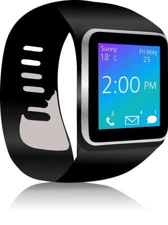 Smart watch with apps icons  Smartwatch  with incoming message on display