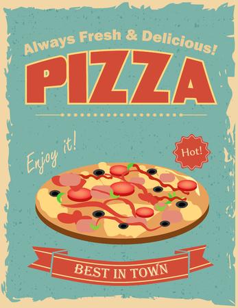 Fast food restaurant poster with retro pizza Stock Illustratie