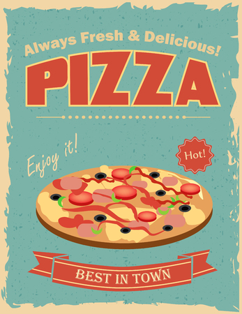 grunge frame: Fast food restaurant poster with retro pizza Illustration