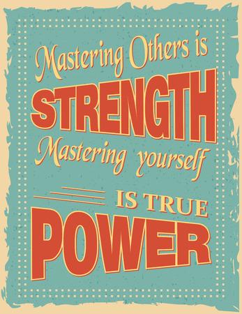 lao: Affiche de citation de motivation avec une d�coration calligraphique et bordures ornementales. Citations de motivation sur vieux fond noir. Ma�triser les autres est la force vous-m�me la ma�trise est vrai pouvoir par Lao Tseu