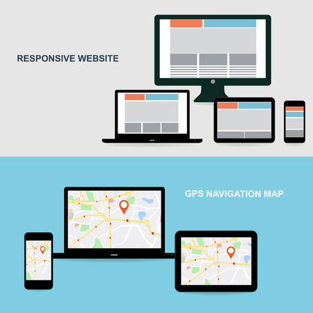 tablet computer: Flat designed banners for responsive website and GPS Navigation map on on media technology devices