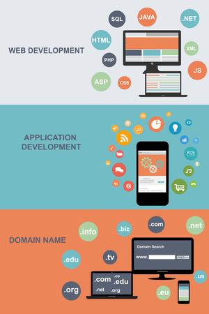 tecnolog�a informatica: Flat designed banners for web development, domain name and application developmennt
