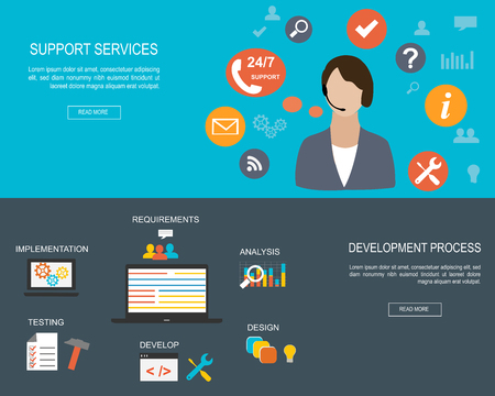 man customer support: Flat designed banners for Support Services and for Development Process Illustration