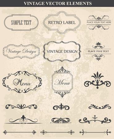 сбор винограда: Декоративные старинные набор каллиграфический дизайн