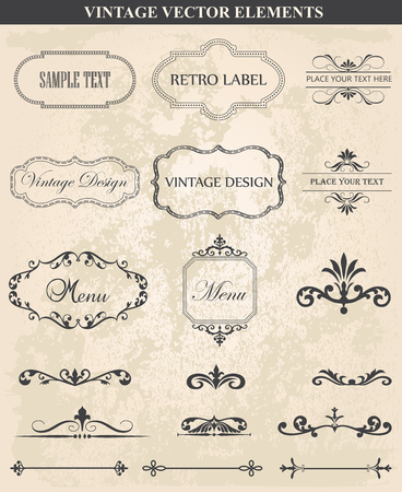 filigree border: Decorative vintage set of calligraphic design Illustration