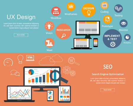 design process: Flat designed banners for UX Design and Search Engine Optimization