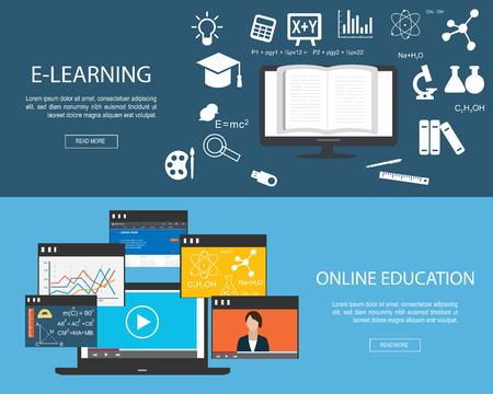enseñanza: banderas diseñadas planas para la educación en línea