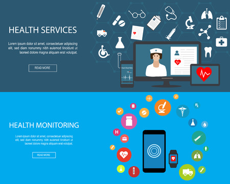 Flat designed banners for Health Services and Health Monitoring Illustration