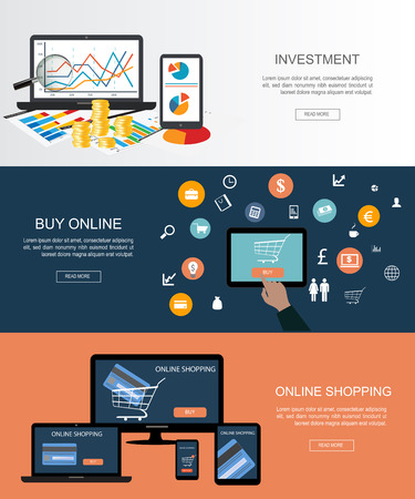 bank bill: Flat designed banners for Investment and Online shopping