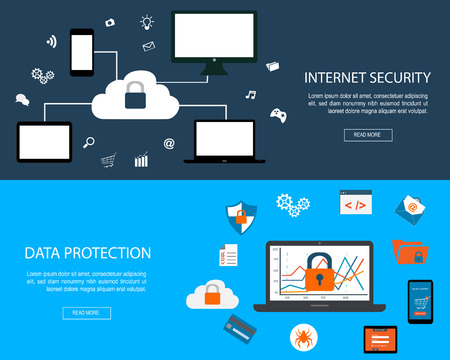 Set of flat design concepts for Internet Security and Data Protection