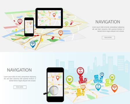 concepto de navegación móvil. moderno conjunto de conceptos de diseño planos con mapa de la ciudad de navegador GPS en la pantalla del smartphone y la tableta. Conceptos sitios web banners web, infografía y materiales impresos.