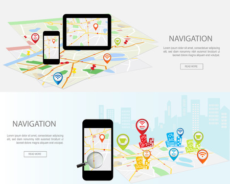Concetto di navigazione mobile. Insieme moderno di concetti di design piatto con mappa della città navigatore GPS sulla smartphone e tablet schermo. Concetti siti web banner Web, infografica e materiali stampati.