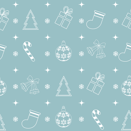 line pattern: Seamless pattern with with different winter symbols in line style. Simple vector background.Christmas theme