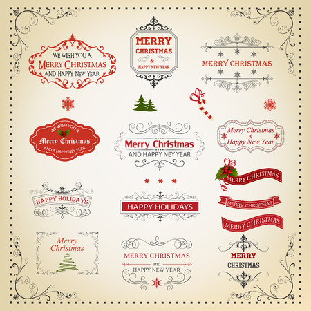 happy new years: Christmas And New Year Calligraphic And Typographic Design Elements, Page Decoration, Labels, Symbols And Icons Elements