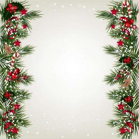 motivos navideños: Fondo de la Navidad con la frontera rama de un árbol con la baya y la cinta.