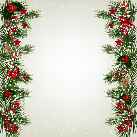 Christmas background with tree branch border with berry and ribbon.