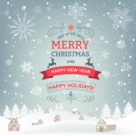 winter snow: New year and Christmas greetings design. Winter holidays landscape. Background with snowflakes christmas tree and houses. Illustration