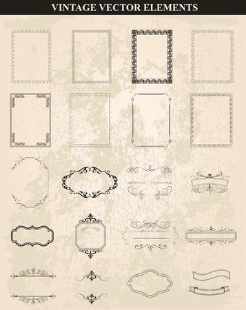 Decorative vintage frames and borders set vector.Abstract vintage frame design in various styles.Vector Vintage Ornament Ilustracje wektorowe