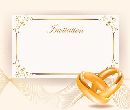 invitación de la boda ancho de anillos de oro en el estilo retro perfecto para las invitaciones o invitación announcements.Wedding anillos de oro de ancho. Día de la boda