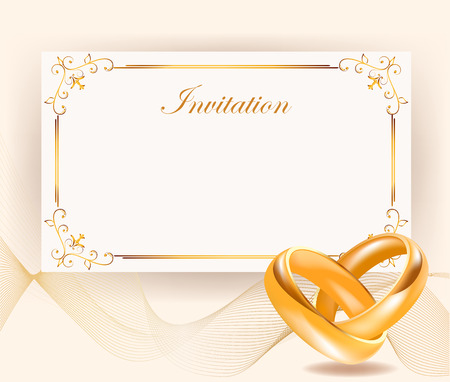 width: Wedding invitation width golden rings in retro style Perfect for invitations or announcements.Wedding invitation width golden rings . Wedding day