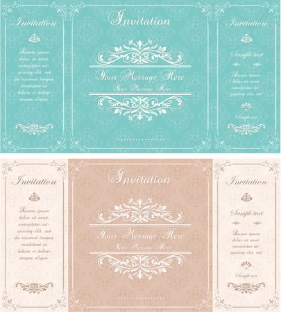 wedding invitation vintage: Set of Wedding Invitation cards with abstract floral background. Greeting postcard in vintage style. Elegance pattern with floral illustration vintage style. Valentine anniversary card
