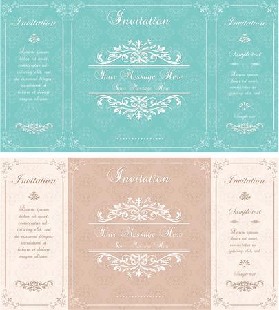 Set van kaarten Uitnodiging van het huwelijk met abstracte bloemen achtergrond. Groet ansichtkaart in vintage stijl. Elegantie patroon met bloemen illustratie vintage stijl. Valentine verjaardagskaart