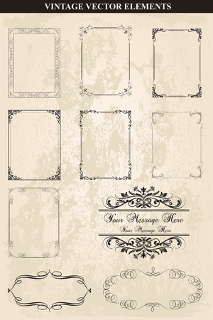Decorative vintage frames and borders set vector.Abstract vintage frame design in various styles.Vector Vintage Ornament  イラスト・ベクター素材
