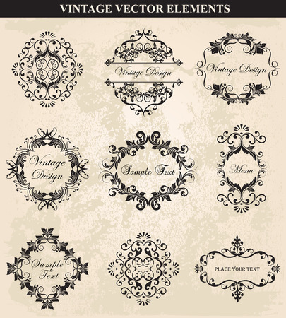 dashes: Decorative Vintage Ornament set vector.Vector Vintage Ornament  calligraphic elements, borders, page decoration. Vintage calligraphic elements.