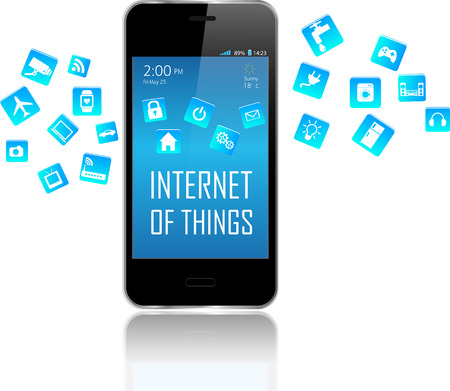 internet phone: Smart phone with Internet of things (IoT) objects icon connecting together. Internet networking concept. Application coming out from Smart Phone white background.  Internet of things Illustration