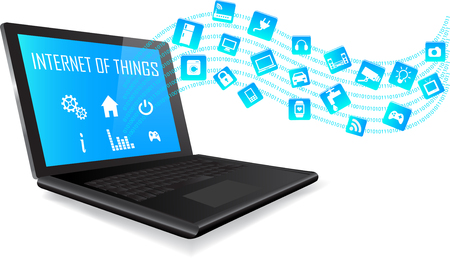 internet icons: Laptop with Internet of things (IoT) icons connecting together. Internet networking concept. Application coming out from Laptop on white background.  Internet of things. Illustration
