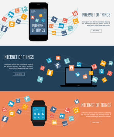 web icons: Smartwatch, Laptop, Smartphone with Internet of things (IoT) icons connecting together. Internet networking concept. Remote control concept  for smart home comfort  Internet of things. Illustration