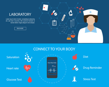 Flat designed banners for Health Services and Laboratory concept. Laboratory research with microscope equipment, molecule structure.Medical apps for smart phone.Mobile Medical Applications