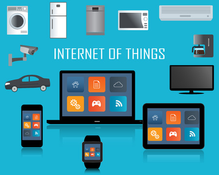 symbols of internet: Smart phone, Tablet, Laptop, Smartwatch and  Internet of things concept.Smart Home Technology Internet networking concept. Internet of things