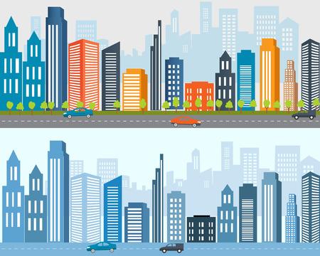 city life: Flat designed banners, Big city life, Urban landscape.City urban design, City life. Real estate advertisement