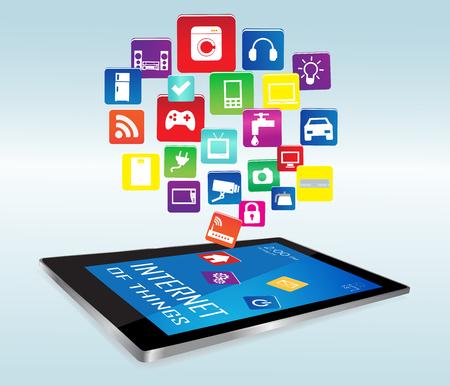 Nowoczesny cyfrowy tablet PC z dostępem do Internetu w miejscach aplikacji. Internet przedmiotów koncepcji ilustracji, Controlling swoje gospodarstwa domowego z tablet.Internet rzeczy AppsInternet rzeczy Apps