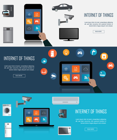 alert: Tablet, Laptop, Smartphone with Internet of things (IoT) icons connecting together. Internet networking concept. Remote control concept  for smart home comfort  Internet of things.