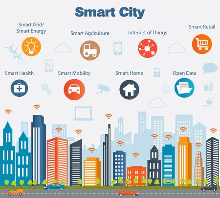 city: concepto de ciudad inteligente con diferentes iconos y elementos. diseño de la ciudad moderna con la tecnología del futuro para la vida. Ilustración de innovaciones e Internet de things.Internet de las cosas  Smart City
